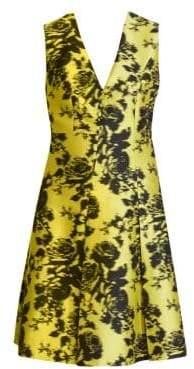 Erdem Women's Yoko Sleeveless Floral A-Line Jacquard Dress - Yellow Black - Size UK 16 (12)