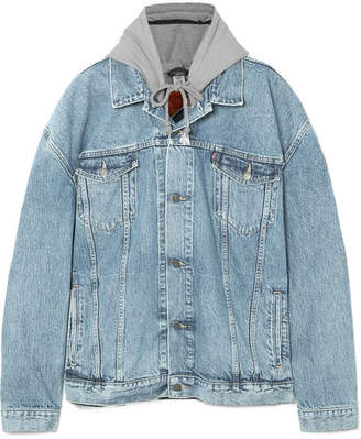 Vetements Oversized Appliquéd Hooded Denim And Jersey Jacket - Mid denim