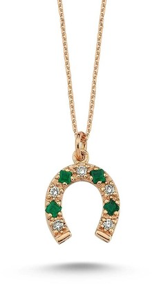 Selda Jewellery Horseshoe Charm Necklace With White Diamond & Emerald