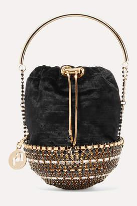 Rosantica Kingham Small Embellished Velvet Bucket Bag - Black