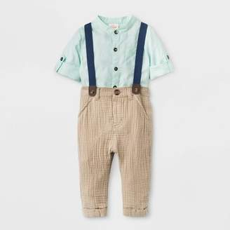 Cat & Jack Baby Boys' 2pc Convertible Sleeve Top and Bottom Set Green/Brown