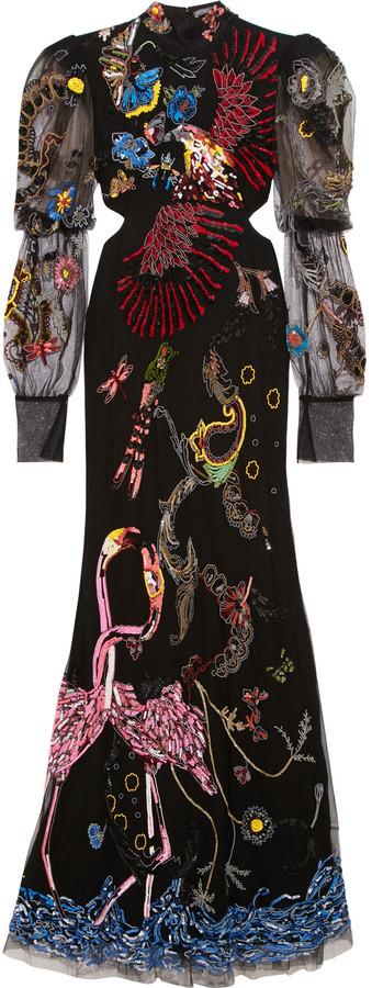 Alexander McQueenAlexander McQueen Embellished cutout tulle gown