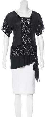 John Galliano Lace-Paneled Short Sleeve Top