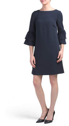 Crepe Dress With Feather Details