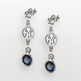 New York Yankees Logoart LogoArt Silver Tone Crystal Logo Linear Drop Earrings