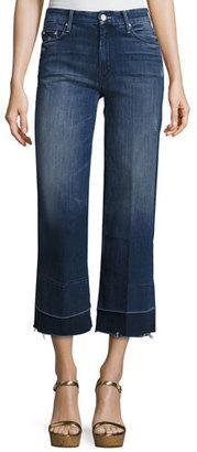Mother Denim Roller Crop Undone Jean with Wide Hem, Dark Graffiti $248 thestylecure.com
