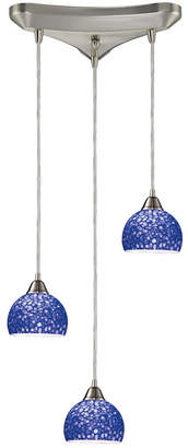 Cira 3-Light Pendants in Satin Nickel and Pebbled Blue Glass