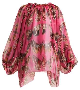 Dolce & Gabbana Butterfly Print Silk Blouse - Womens - Pink Print