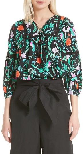Women's Kate Spade New York Jardin Lace Inset Silk Blouse