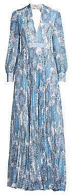 Alice + Olivia Women's Cheney Pleated Paisley Maxi Dress - Size 0