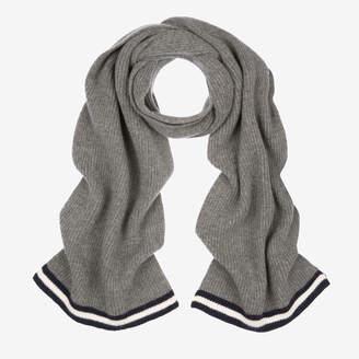 Bally Ribbed Wool Scarf Grey, Men's wool scarf in grey