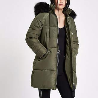 River Island Khaki faux fur trim longline puffer jacket