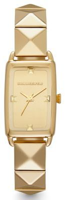 Karl Lagerfeld Gold-Tone Square Watch with Pyramid Strap