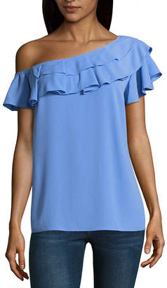 A.N.A Ruffle One Shoulder Top Short Sleeve Crew Neck Woven Blouse