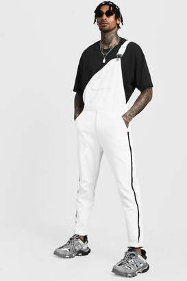 boohoo Slim Fit Denim Overalls With Tape Detail