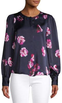 Joie Floral Long Puffed-Sleeve Top