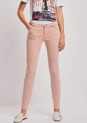 Emporio Armani Super-Skinny J23 Jeans In Vintage-Effect Cotton And Linen Drill
