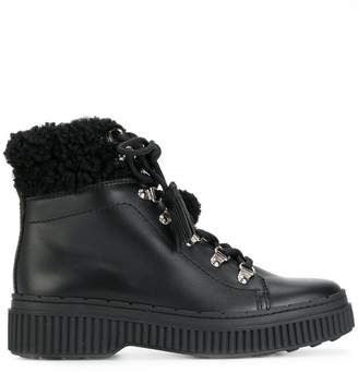 Tod's shearling-trimmed ankle boots