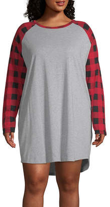 Co North Pole Trading Jersey Long Sleeve Round Neck Plaid Nightshirt-Plus