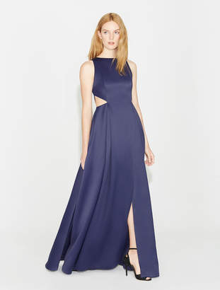 Halston Satin Faille Gown With Cut Outs