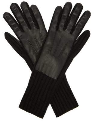 Burberry Leather Panelled Cashmere Gloves - Mens - Black
