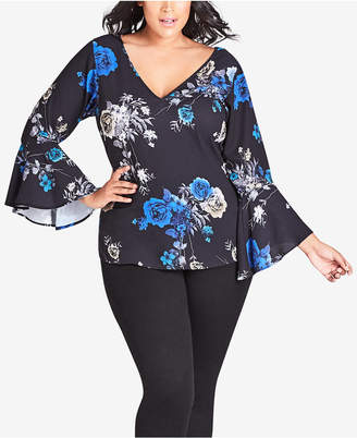 City Chic Trendy Plus Size Printed Bell-Sleeve Top
