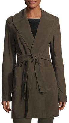 Neiman Marcus Leather Collection Belted Suede Wrap Coat