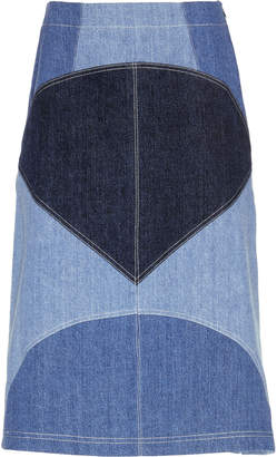 Marni Patchwork Denim High Rise Midi Skirt