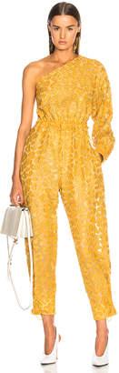 Stella McCartney Leopard Print Burnout One Shoulder Jumpsuit in Honey Yellow   FWRD