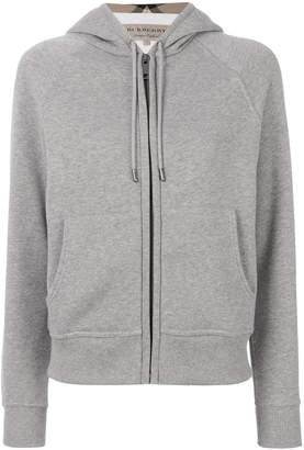 Burberry Hooded Zip-front Cotton Blend Sweatshirt
