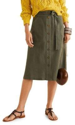 MANGO Tied & Buttoned Linen-Cotton Stripe Midi Skirt