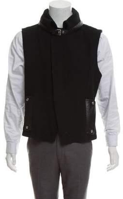 Saint Laurent Leather Trimmed Wool Vest