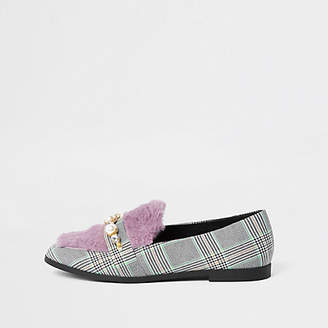 River Island Grey check faux fur loafers
