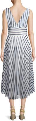 Fuzzi Striped Hollywood V-Neck Dress