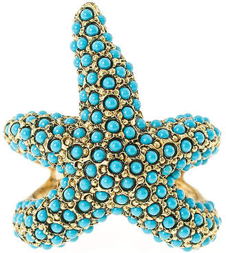 Kenneth Jay Lane KJL BY KJL by Gold-Tone Aqua Stone Starfish Ring
