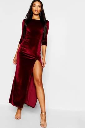 boohoo Velvet Long Sleeve Maxi Dress