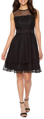 J Taylor Sleeveless Embellished Dots Fit & Flare Dress