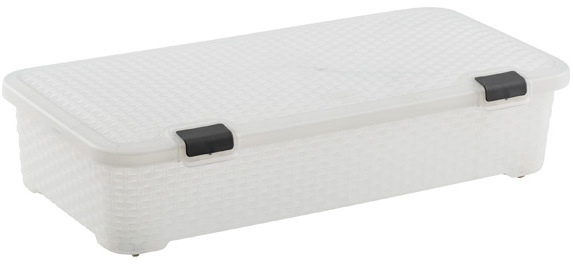 Container Store Basketweave Gliding Box Translucent