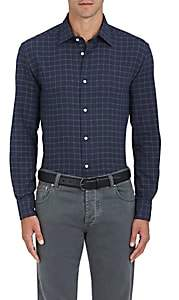 Piattelli MEN'S WINDOWPANE-CHECKED COTTON SHIRT-NAVY SIZE XXL