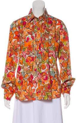 Etro Floral Long Sleeve Button-Up Top