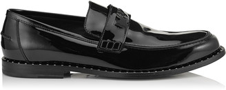Jimmy Choo DARBLAY Black Patent Penny Loafers with Steel Studs Detail