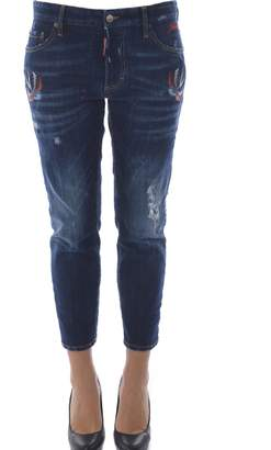 DSQUARED2 Embroidered Boyfriend Jeans