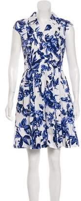 Lela Rose Floral Print A-Line Dress
