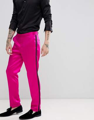 Asos DESIGN skinny tuxedo suit pants in high shine pink