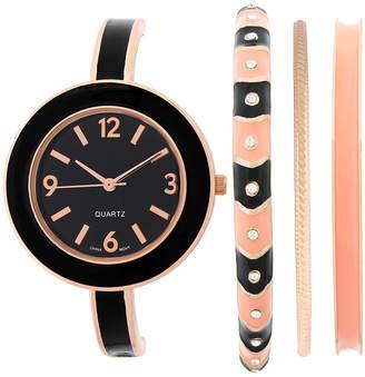 FASHION WATCHES Womens Black Bangle Watch and Bracelet Set