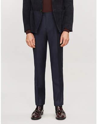 Corneliani Micro-checked slim-fit stretch-wool trousers