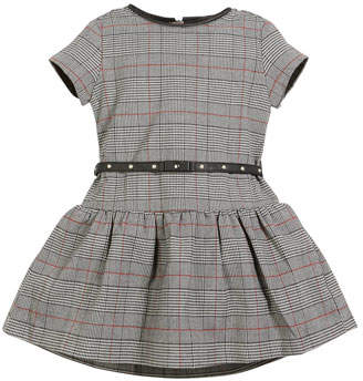 Mayoral Prince of Wales Plaid Short-Sleeve Dress, Size 3-7