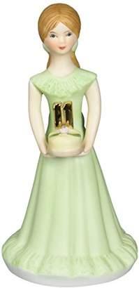 "Enesco Growing Up Girls ""Brunette Age 11"" Porcelain Figurine"
