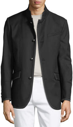 Karl Lagerfeld Men's Military-Style Textured Blazer Jacket