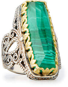Konstantino Faceted Green Crystal Quartz Over Malachite Cocktail Ring